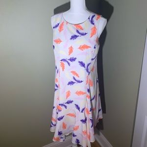 Feather print colorful shift dress